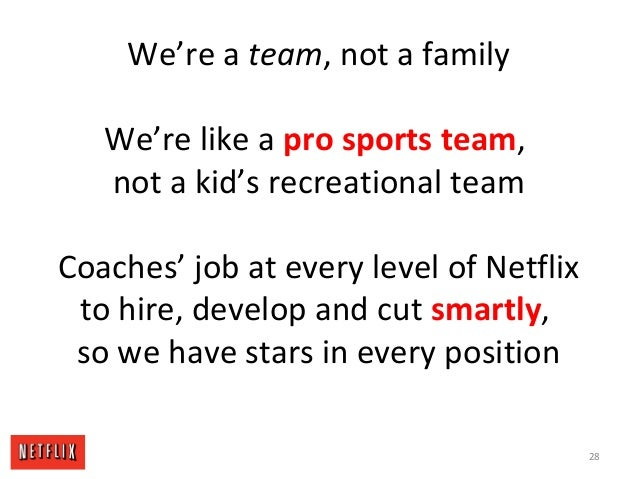 We're a team, not a family We're like a pro sports team, not a kid's recreational team Coaches' job at every level of Netf...