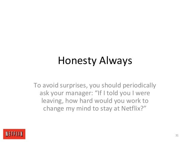 "Honesty Always To avoid surprises, you should periodically ask your manager: ""If I told you I were leaving, how hard would..."