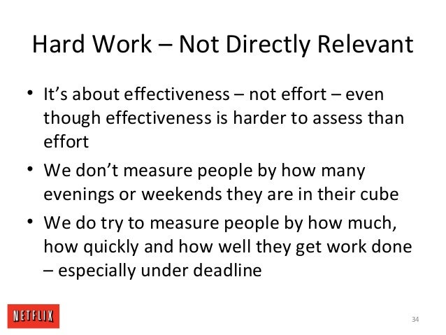 Hard Work – Not Directly Relevant • It's about effectiveness – not effort – even though effectiveness is harder to assess ...