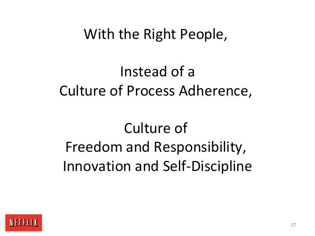 With the Right People, Instead of a Culture of Process Adherence, Culture of Freedom and Responsibility, Innovation and Se...