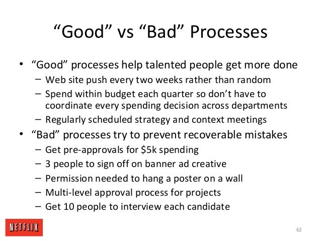 """""""Good"""" vs """"Bad"""" Processes • """"Good"""" processes help talented people get more done – Web site push every two weeks rather tha..."""