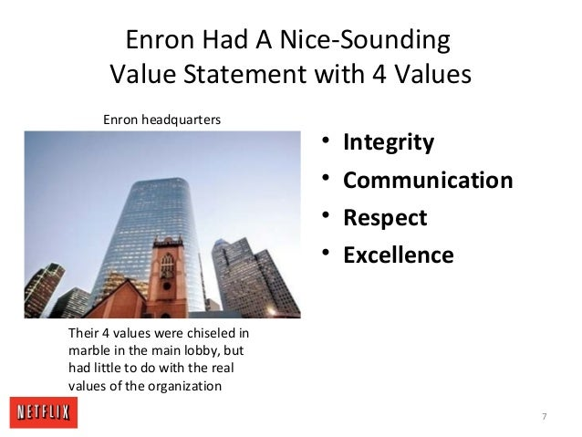 Enron Had A Nice-Sounding Value Statement with 4 Values • Integrity • Communication • Respect • Excellence Enron headquart...