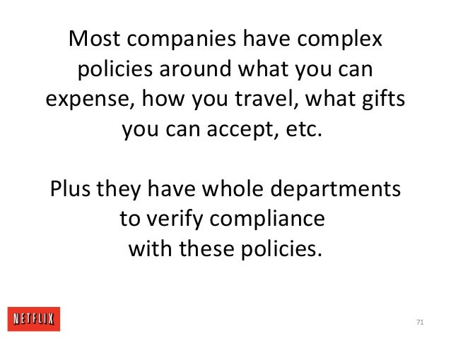 Most companies have complex policies around what you can expense, how you travel, what gifts you can accept, etc. Plus the...