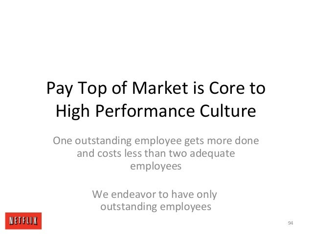 Pay Top of Market is Core to High Performance Culture One outstanding employee gets more done and costs less than two adeq...
