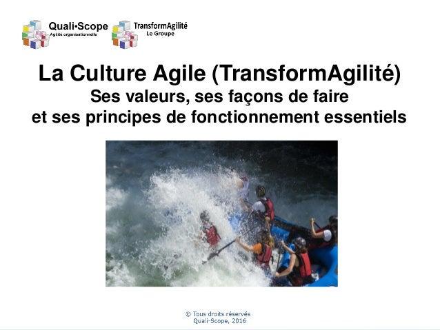 1 La Culture Agile (TransformAgilité) Ses valeurs, ses façons de faire et ses principes de fonctionnement essentiels