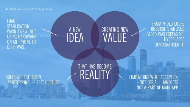 20 CREATING A CULTURE FOR INNOVATION A NEW IDEA CREATING NEW VALUE THAT HAS BECOME REALITY IMAGE STABLISATION WASN'T NEW, ...