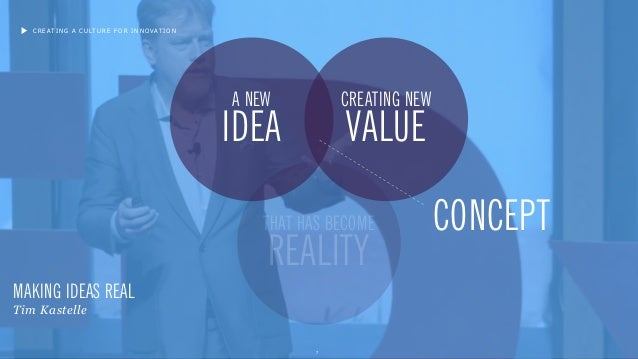 7 A NEW IDEA CREATING NEW VALUE THAT HAS BECOME REALITY MAKING IDEAS REAL Tim Kastelle CONCEPT CREATING A CULTURE FOR INNO...