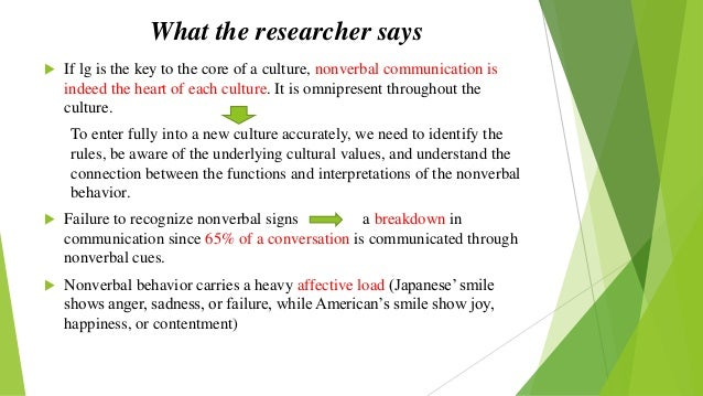 nonverbal communication and culture essay Nonverbal communication (nvc) between people is communication through sending and receiving wordless clues culture and interpersonal communication.