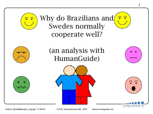 1  Why do Brazilians and Swedes normally cooperate well? (an analysis with HumanGuide)  Culture_Brazil&Sweden_eng.ppt 11-0...