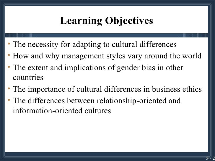 Culture, Management Style, and Business Systems Slide 2