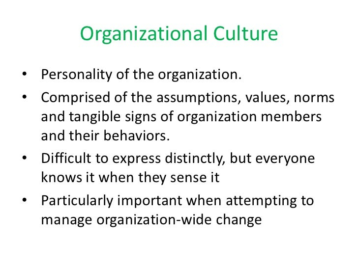 Personality of the organization. <br />Comprised of the assumptions, values, norms and tangible signs of organization memb...