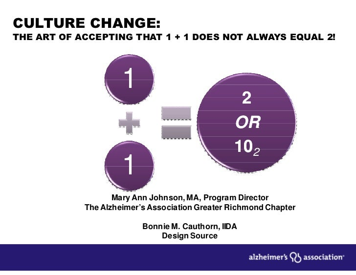 CULTURE CHANGE:THE ART OF ACCEPTING THAT 1 + 1 DOES NOT ALWAYS EQUAL 2!                     1                             ...