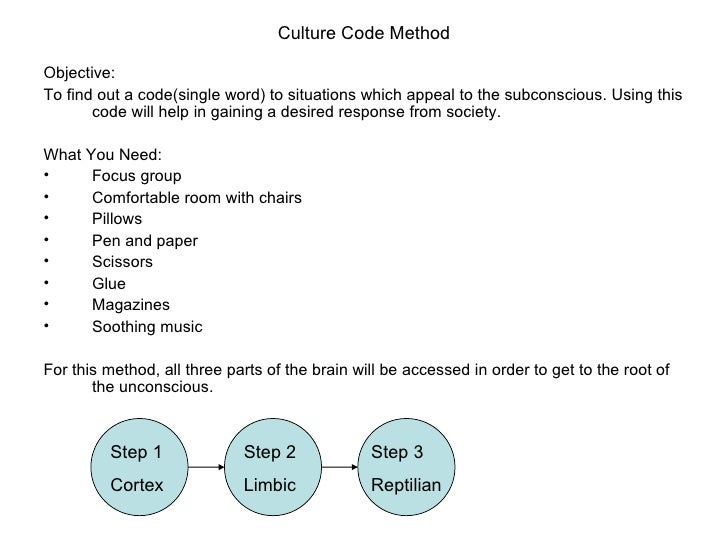 Culture Code Method <ul><li>Objective: </li></ul><ul><li>To find out a code(single word) to situations which appeal to the...