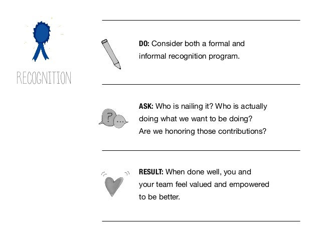 RESULT: When done well, you and your team feel valued and empowered to be better. DO: Consider both a formal and informal ...