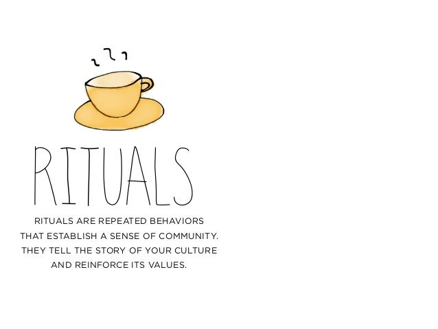 RITUALSRITUALS ARE REPEATED BEHAVIORS THAT ESTABLISH A SENSE OF COMMUNITY. THEY TELL THE STORY OF YOUR CULTURE AND REINFOR...