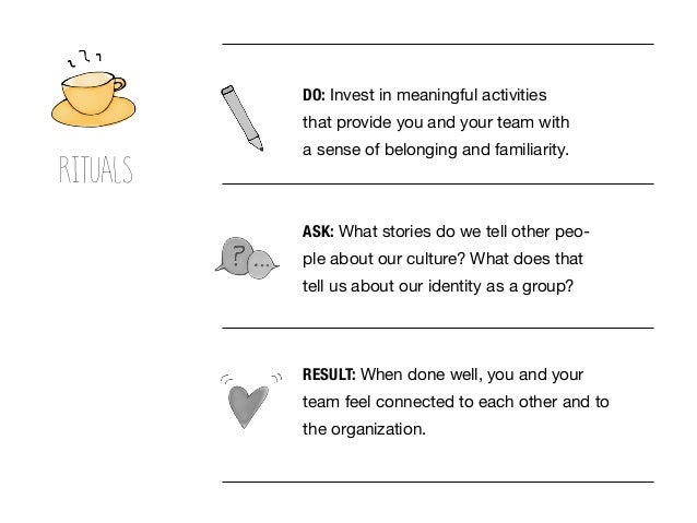RESULT: When done well, you and your team feel connected to each other and to the organization. DO: Invest in meaningful a...