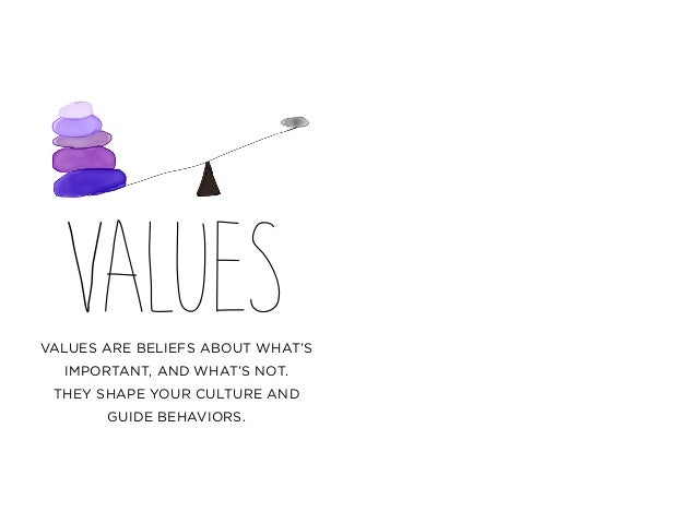 VALUESVALUES ARE BELIEFS ABOUT WHAT'S IMPORTANT, AND WHAT'S NOT. THEY SHAPE YOUR CULTURE AND GUIDE BEHAVIORS.