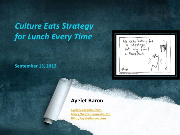 Culture	  Eats	  Strategy	  for	  Lunch	  Every	  Time	  	  	  September	  13,	  2012	                                 Aye...