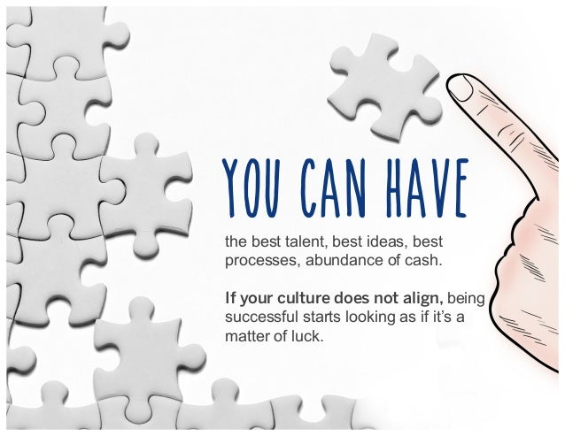 the best talent, best ideas, best processes, abundance of cash. If your culture does not align, being successful starts lo...