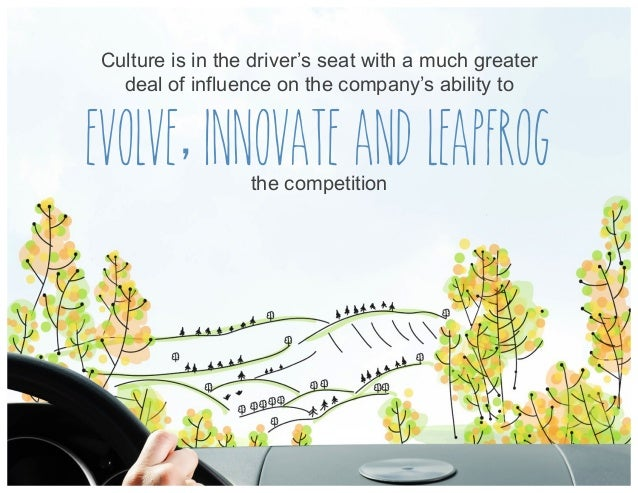 Culture is in the driver's seat with a much greater deal of influence on the company's ability to evolve innovate and leap...
