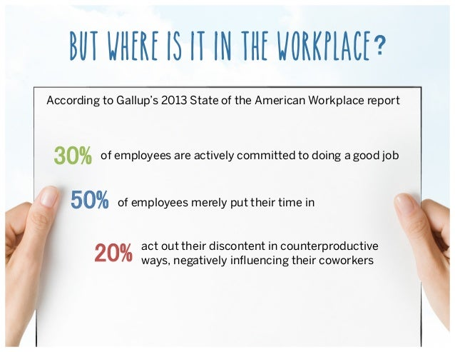 BUT WHERE IS IT IN THE WORKPLACE According to Gallup's 2013 State of the American Workplace report !of employees are activ...