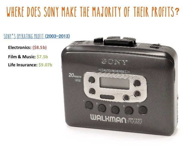 Where DOES SONY MAKE THE MAJORITY OF THEIR PROFITS Electronics:,($8.5b)!! Film,&,Music:,$7.5b! Life,Insurance:,$9.07b! Son...