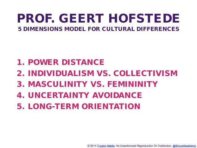http://www.tripylonmedia.com PROF. GEERT HOFSTEDE 5 DIMENSIONS MODEL FOR CULTURAL DIFFERENCES 1. POWER DISTANCE 2. INDIVID...