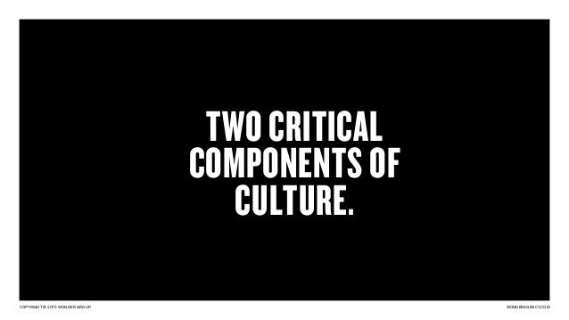 COPYRIGHT © 2015 WONDER GROUP. WONDERAGENCY.COM TWO CRITICAL COMPONENTS OF CULTURE.