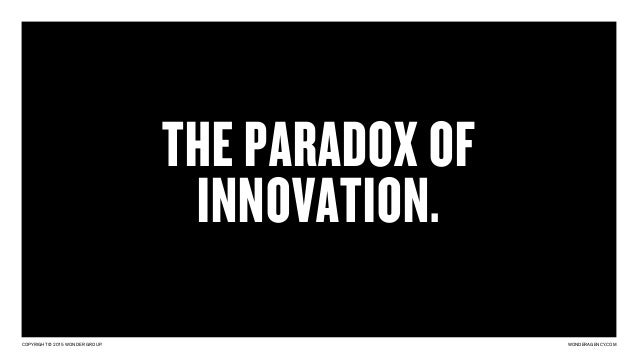 COPYRIGHT © 2015 WONDER GROUP. WONDERAGENCY.COM THE PARADOX OF INNOVATION.