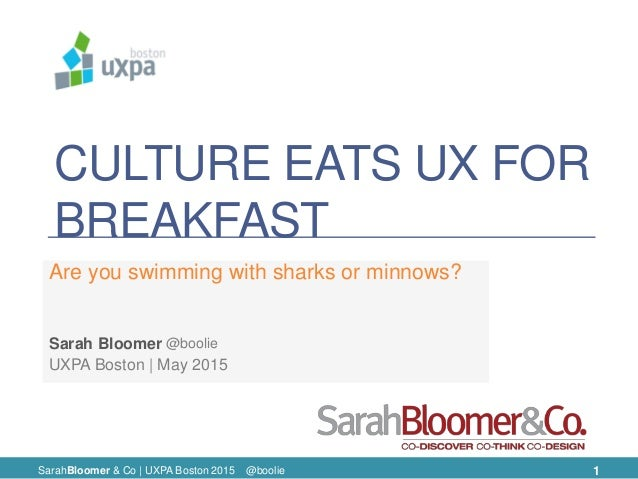 CULTURE EATS UX FOR BREAKFAST Are you swimming with sharks or minnows? UXPA Boston | May 2015 Sarah Bloomer SarahBloomer &...