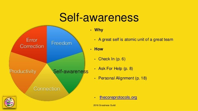 2016 Greatness Guild Self-awareness • Why • A great self is atomic unit of a great team • How • Check In (p. 6) • Ask For ...