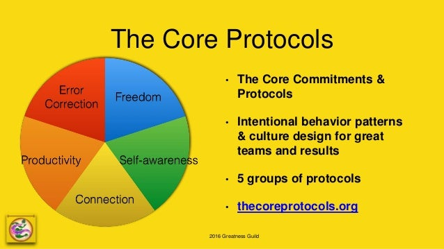 2016 Greatness Guild The Core Protocols • The Core Commitments & Protocols • Intentional behavior patterns & culture desig...
