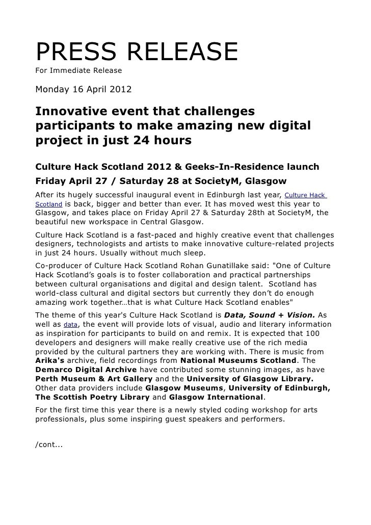 PRESS RELEASEFor Immediate ReleaseMonday 16 April 2012Innovative event that challengesparticipants to make amazing new dig...