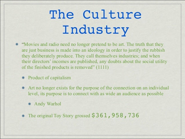 cultural industry Set analysis of cultural industry systems1 paul m hirsch indiana university  organizations engaged in the production and mass distribution of cultural items .