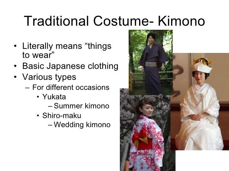 "Traditional Costume- Kimono <ul><li>Literally means ""things to wear"" </li></ul><ul><li>Basic Japanese clothing </li></ul><..."