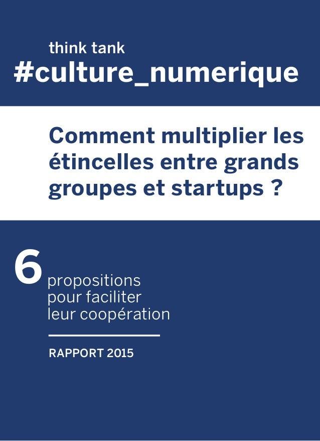 propositions pour faciliter leur coopération Comment multiplier les étincelles entre grands groupes et startups ? RAPPORT ...