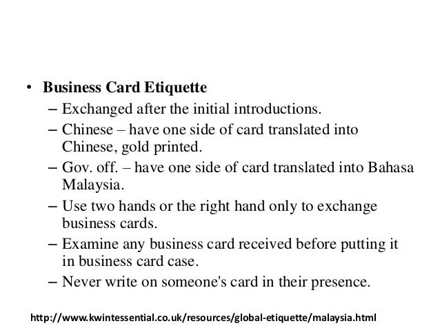 Culture of australia malaysia 6 business card etiquette exchanged reheart Image collections