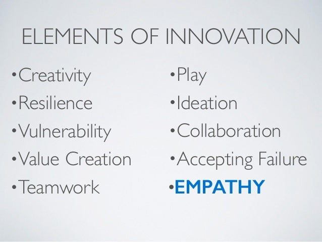 ELEMENTS OF INNOVATION •Creativity  •Resilience  •Vulnerability  •Value Creation  •Teamwork  •Play  •Ideation  •Col...