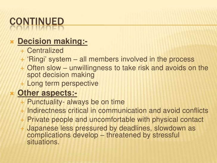 ringi system in japan This time around, the ringi system was put into practice in a multi-national company i know of basically it is a japanese collective decision making system involving a large number of people there are 4 steps involved:.
