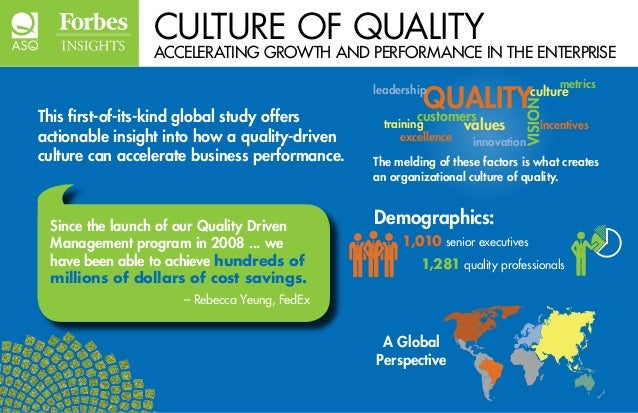 CULTURE OF QUALITY  ACCELERATING GROWTH AND PERFORMANCE IN THE ENTERPRISE  This first-of-its-kind global study offers  act...