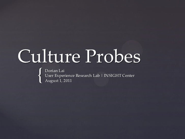 Culture Probes  {   Dorian Lai      User Experience Research Lab | INSIGHT Center      August 1, 2011