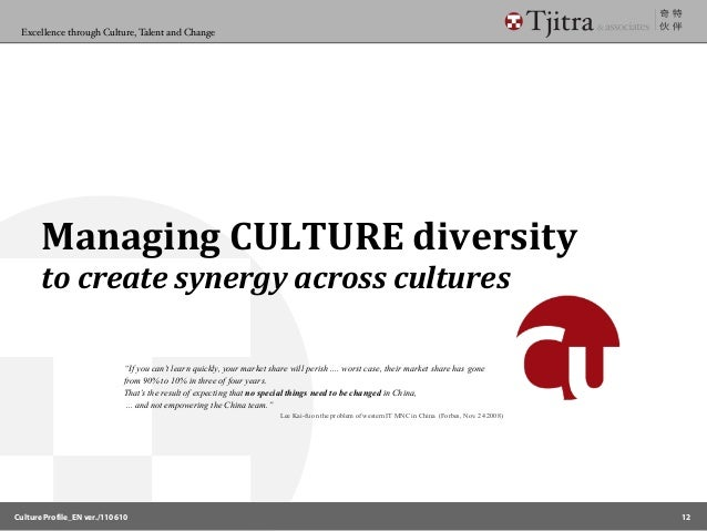 managing culturally diverse Over the past few decades, the us workforce has become much more culturally diverse, and all indications are that it will continue to do so every working.