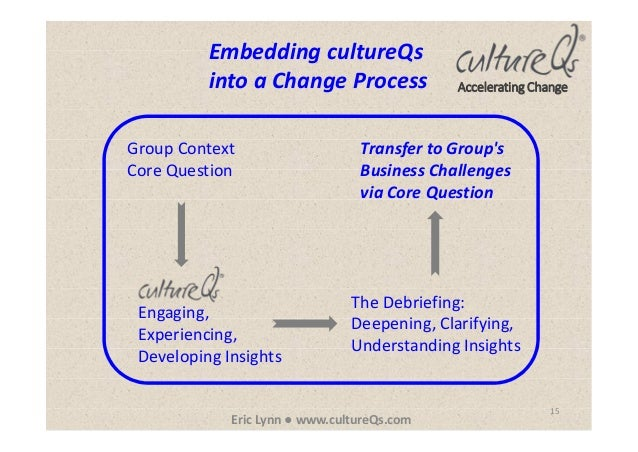 15 Eric Lynn ● www.cultureQs.com Accelerating Change Embedding cultureQs into a Change Process Group Context Core Question...