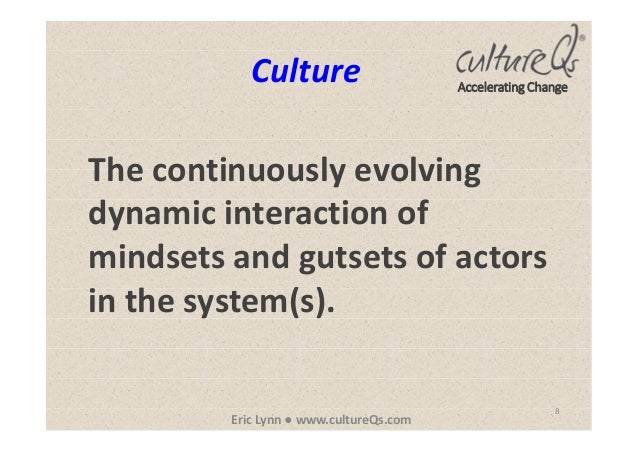 8 Eric Lynn ● www.cultureQs.com Accelerating Change The continuously evolving dynamic interaction of mindsets and gutsets ...