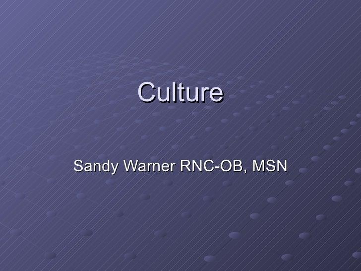 Culture Sandy Warner RNC-OB, MSN