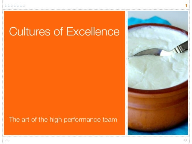 Cultures of Excellence 1 The art of the high performance team