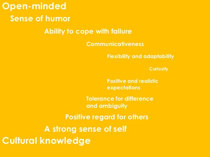 Open-minded Sense of humor        Ability to cope with failure                     Communicativeness                      ...