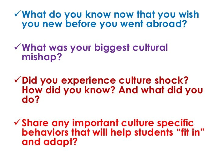 Culture shock study abroad predeparture training