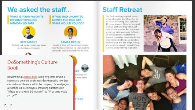 DoSomething's Culture Book DoSomething's culture book is largely geared towards interns and potential employees, demonstra...