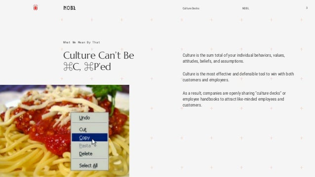 Culture Can't Be ⌘C, ⌘P'ed 3 What We Mean By That Culture is the sum total of your individual behaviors, values, attitudes...